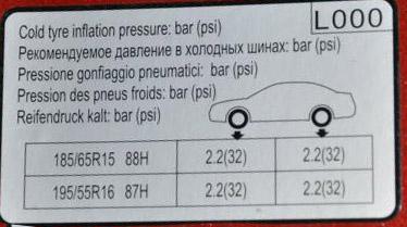 таблица давления в шинах hyundai solaris