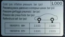 давление в шинах у Kia Rio